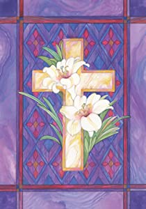 Toland Home Garden Lily and Cross 28 x 40 Inch Decorative Stained Glass Easter Flower House Flag