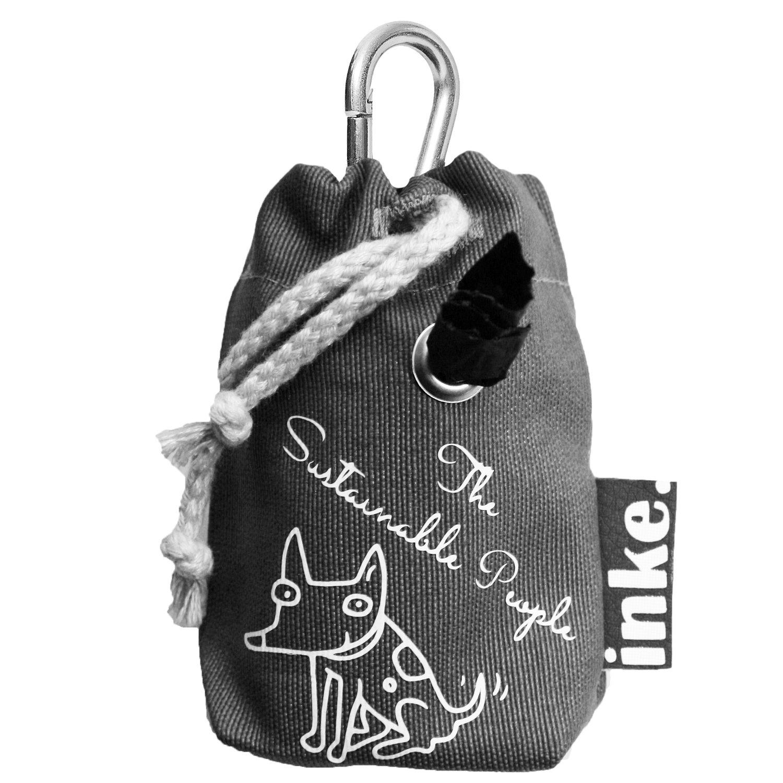 inke. Kotbeutelspender - The Sustainable People Edition inkl. 1 Rolle TSP Bio Hundekotbeutel. Handgearbeitet in Deutschland, langlebiges, robustes Material. Wasser- und schmutzabweisend, (grau, schräger Schriftzug) schräger Schriftzug)