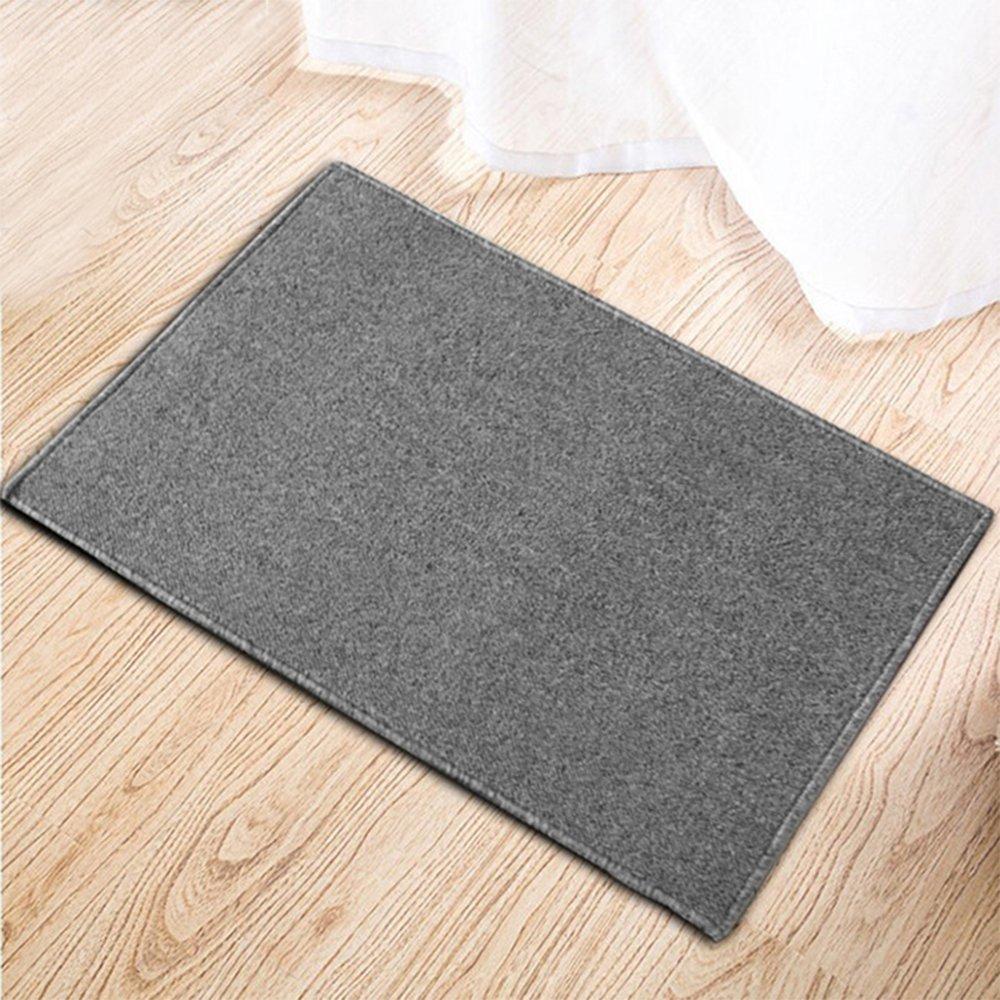 Vintage Classic Pure Color Fiber Long Doormat Entry Way Door Outdoor Mat Dirt Mud Trapper Doormat Non Slip Home Indoor Doormat Entrance Floor Rug, Light Grey by OurHomeArt