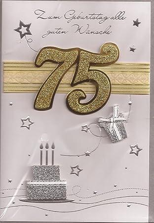 Geburtstagskarte zum 75. Geburtstag - Handmade Style - Motiv 05 ...