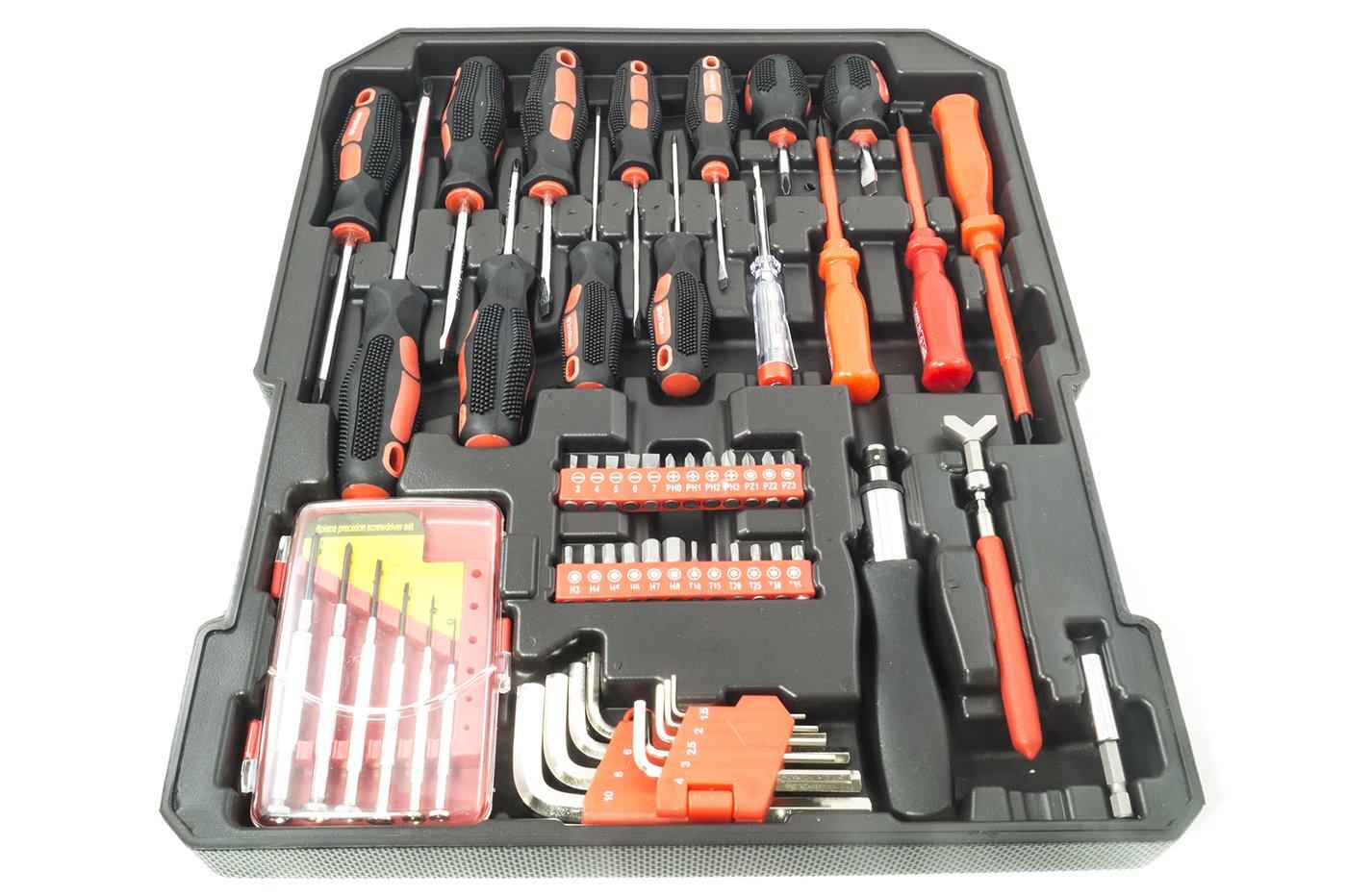 Caja de herramientas con 187 llaves, utensilios, destornilladores, alicates, nivel, metro, carrito: Amazon.es: Bricolaje y herramientas
