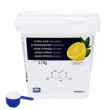 NortemBio Zitronensäure 2,7 Kg. 100% Reines Pulver in Lebensmittelqualität. Entwickelt in Deutschland.