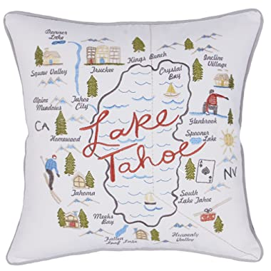 DecorHouzz Pillow Covers State/City Map Pillowcase embroidered cushion cover Birthday Gift Anniversary Gift Graduation Gift New home Gift 18 x18  (Lake Tahoe)