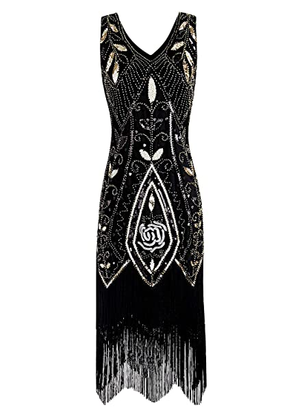 59c80f465a9f Women 1920s Flapper Dress Gatsby Vintage Plus Size Roaring 20s Dresses  Fringed Party Prom  Amazon.co.uk  Clothing