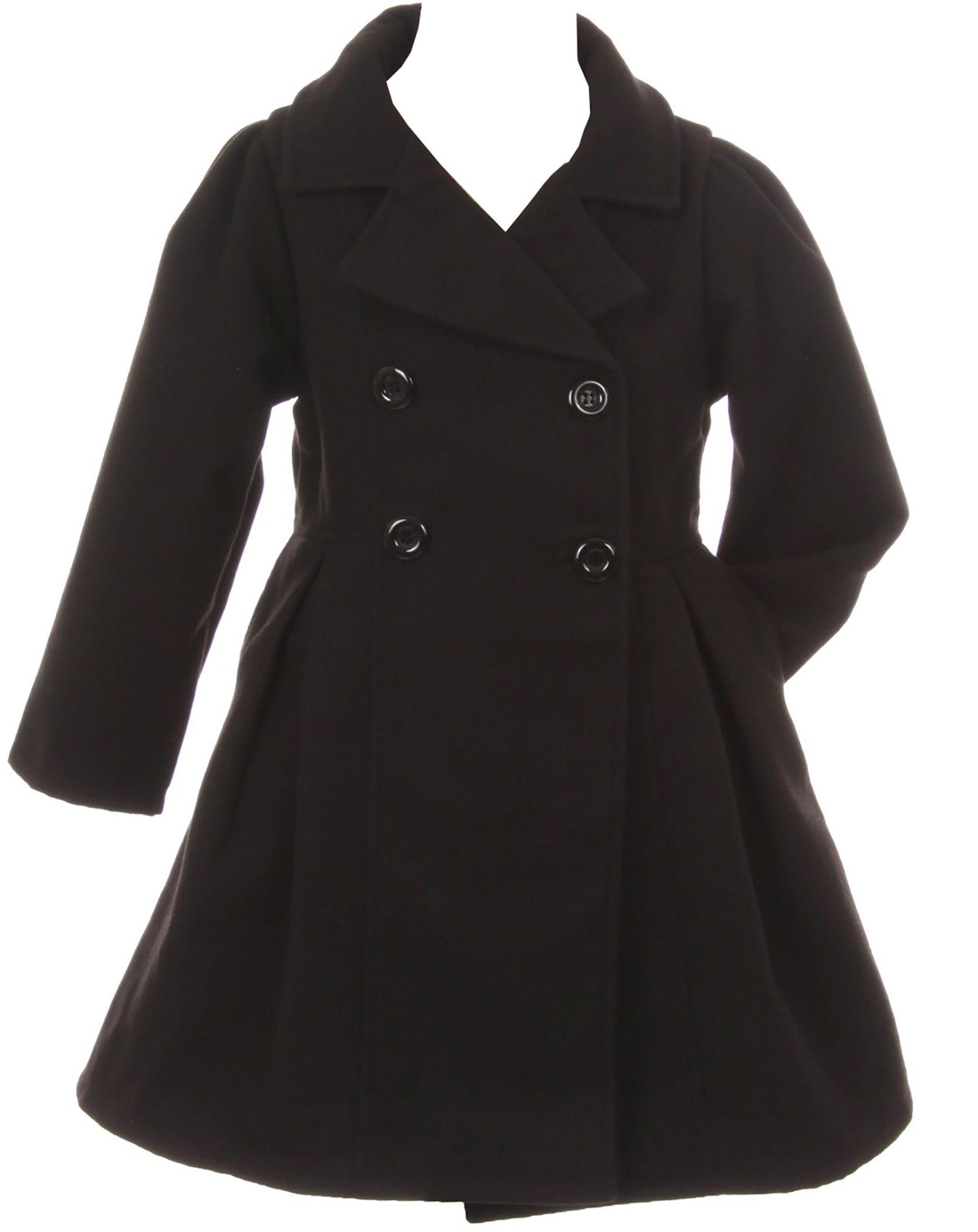 Dreamer P Big Girls' Cozy Long Sleeve Collar Button Flower Girl Coat Jacket Cover Outerwear Black 8 (J20K49S)