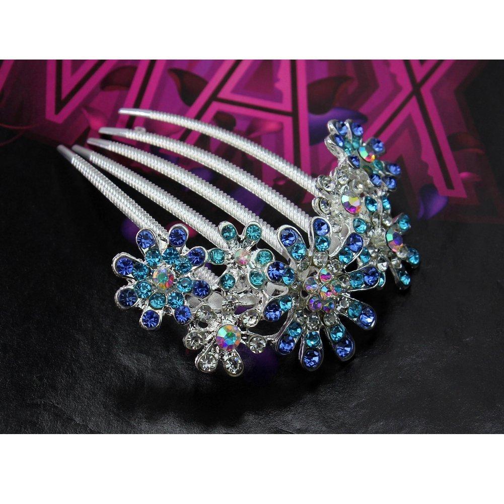 Ecloud Shop Romántico Rhinestone del florista Peine nupcial del pelo de la boda Clip Azul