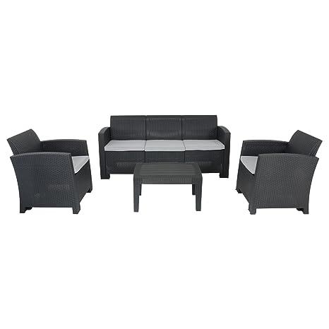 Azuma - Juego de sofá de jardín de ratán negro, 3 plazas, 2 ...