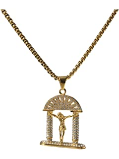 J.Shine Angel Wing Inlay Created Resin Crystal /& Gold Tone Stainless Steel Pendant Necklace for Man /& Chain 22