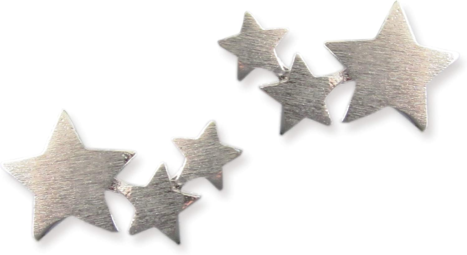 Lx3 Sterling Silver Tri Star Stud Earrings Silver Climber