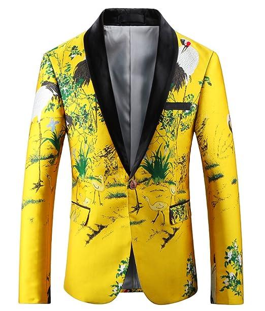 Amazon.com: Ouye Hombres Lujo amarillo único breasted Blazer ...
