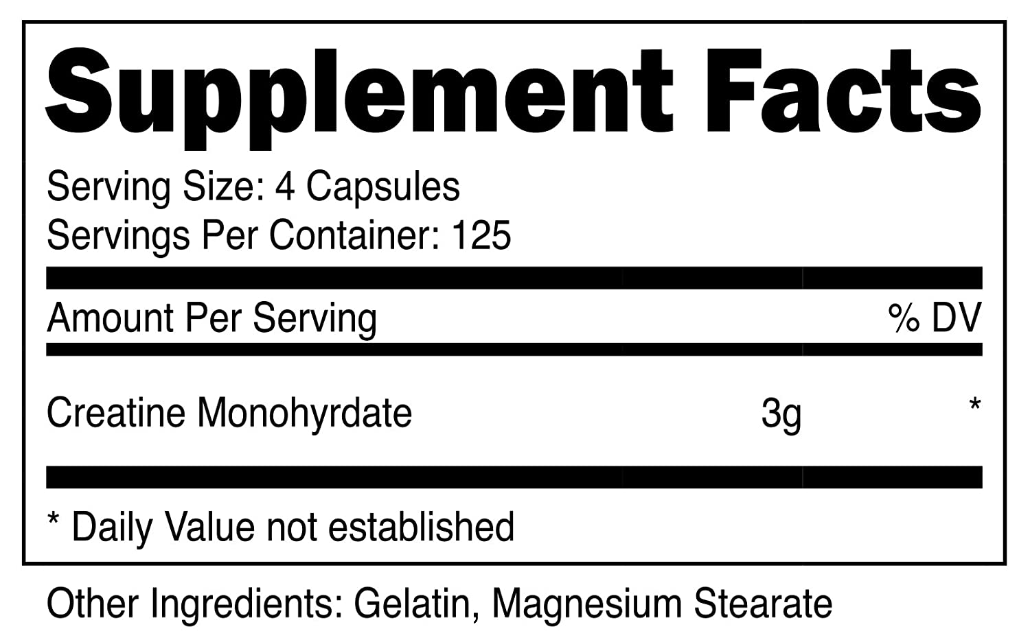 Nutricost Creatine Monohydrate 750mg, 500 Capsules 3 Bottles