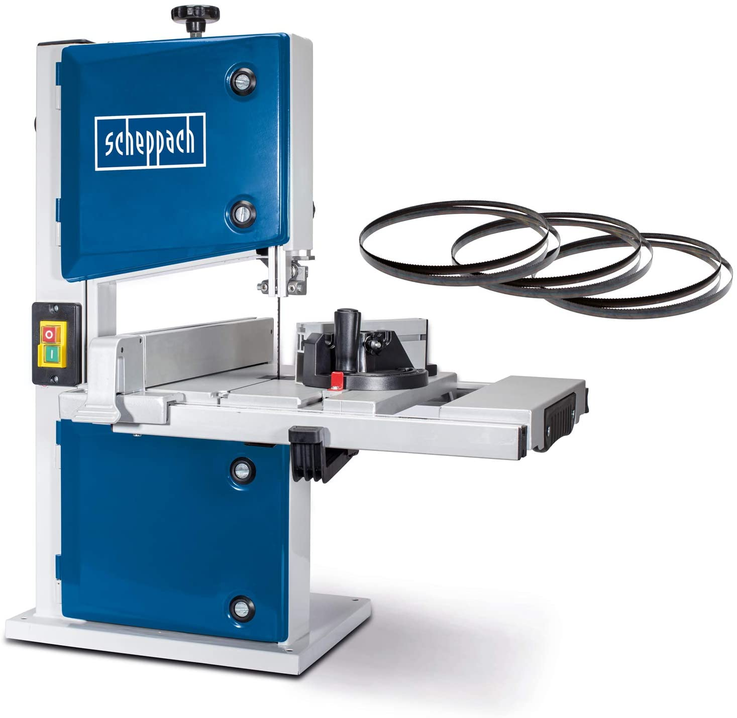Scheppach 5901501905 HBS30-Sierra Madera (Incluye 3 Cintas de Sierra 230 V, 350 W, Altura 80 mm. Máx. Ancho de Paso: 200 mm, Azul