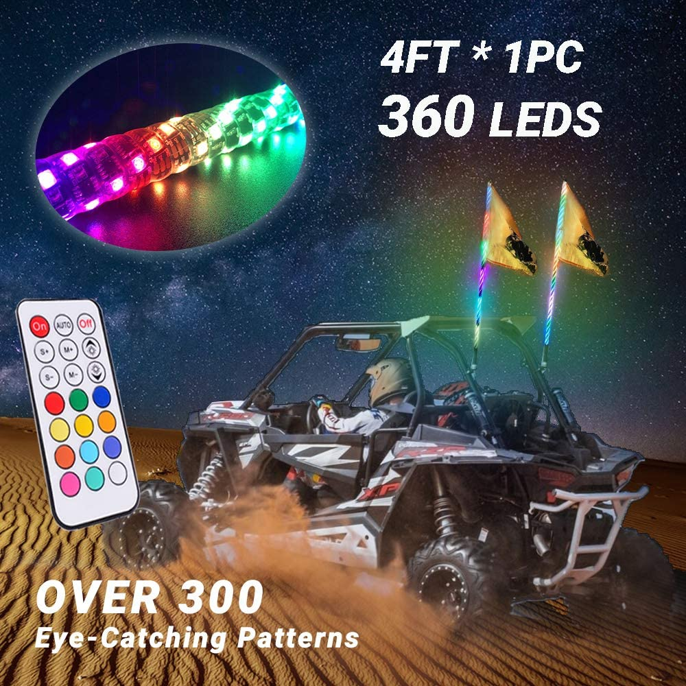 Road Vehicle ATV UTV RZR Jeep Trucks Dunes Beatto 4FT Orange LED Whip Light LED Safety Flag Whips Light LED Antenna Light For Off 1.2M