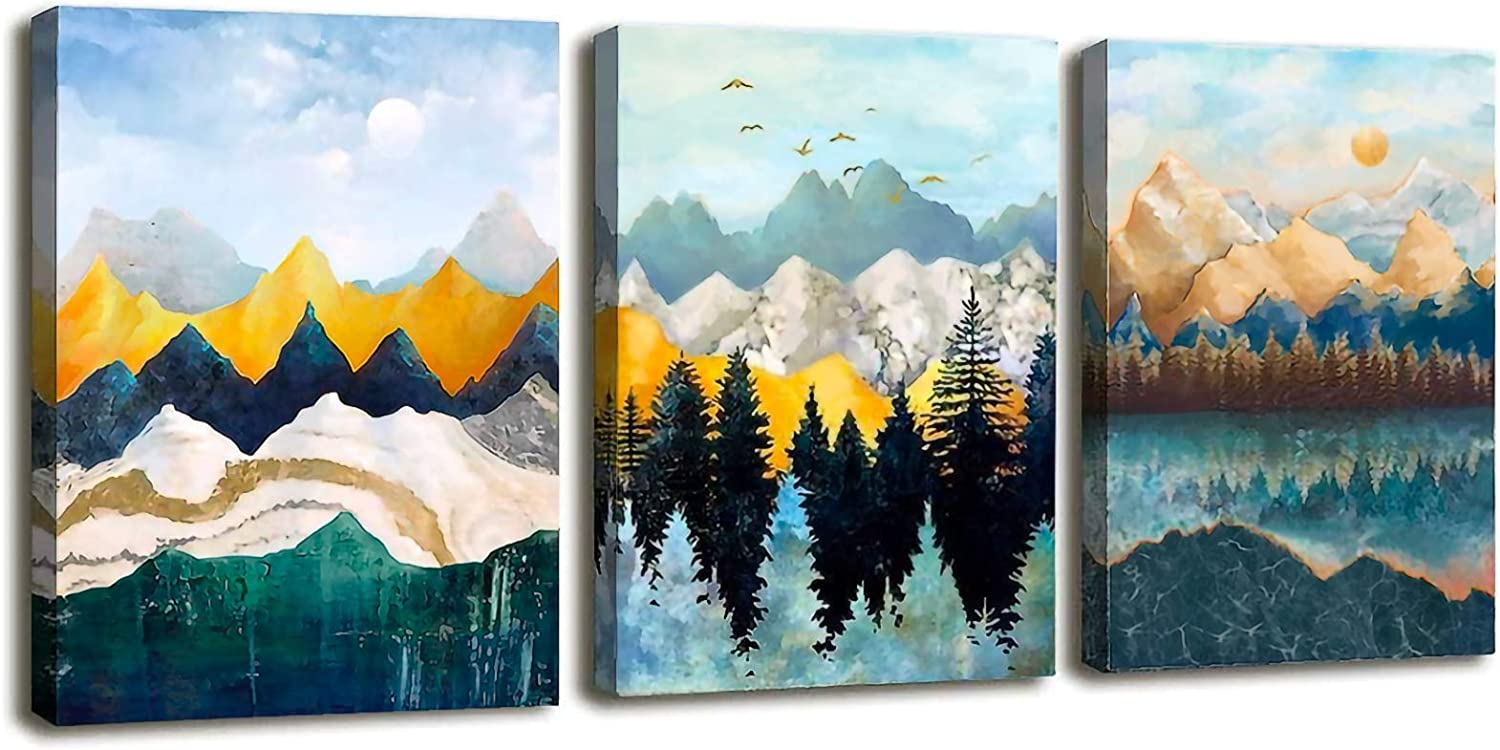Abstract canvas wall art 3 piece gold theme 48X24 3 panel teal wall decor modern painting print forest landscape mountains wall picture nature wall art framed ready to hang for bedroom Living room office kitchen bedroom art Farmhouse