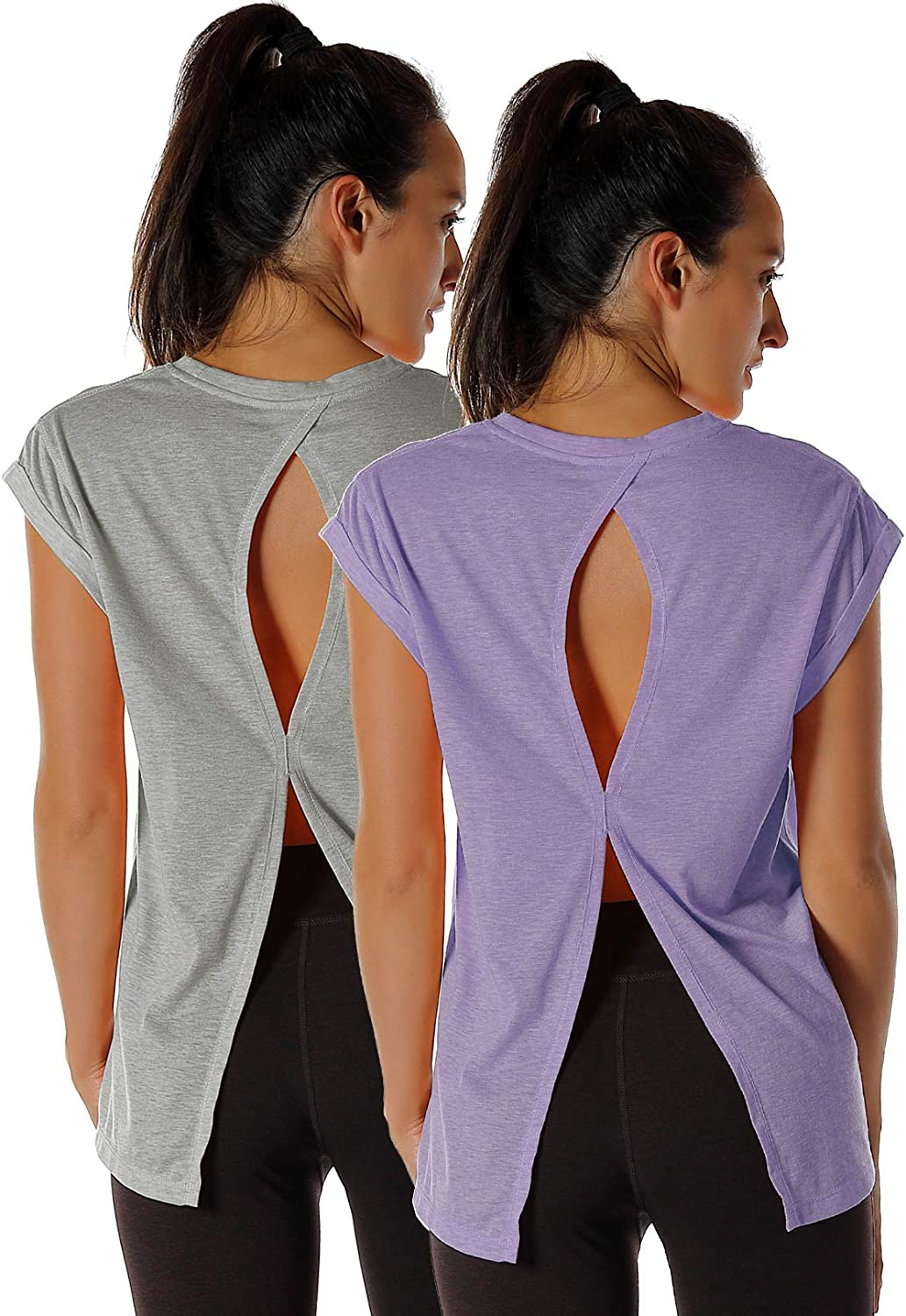 Yoga T-Shirts Activewear Exercise Tops for Women icyzone Open Back Workout Top Shirts Pack of 2