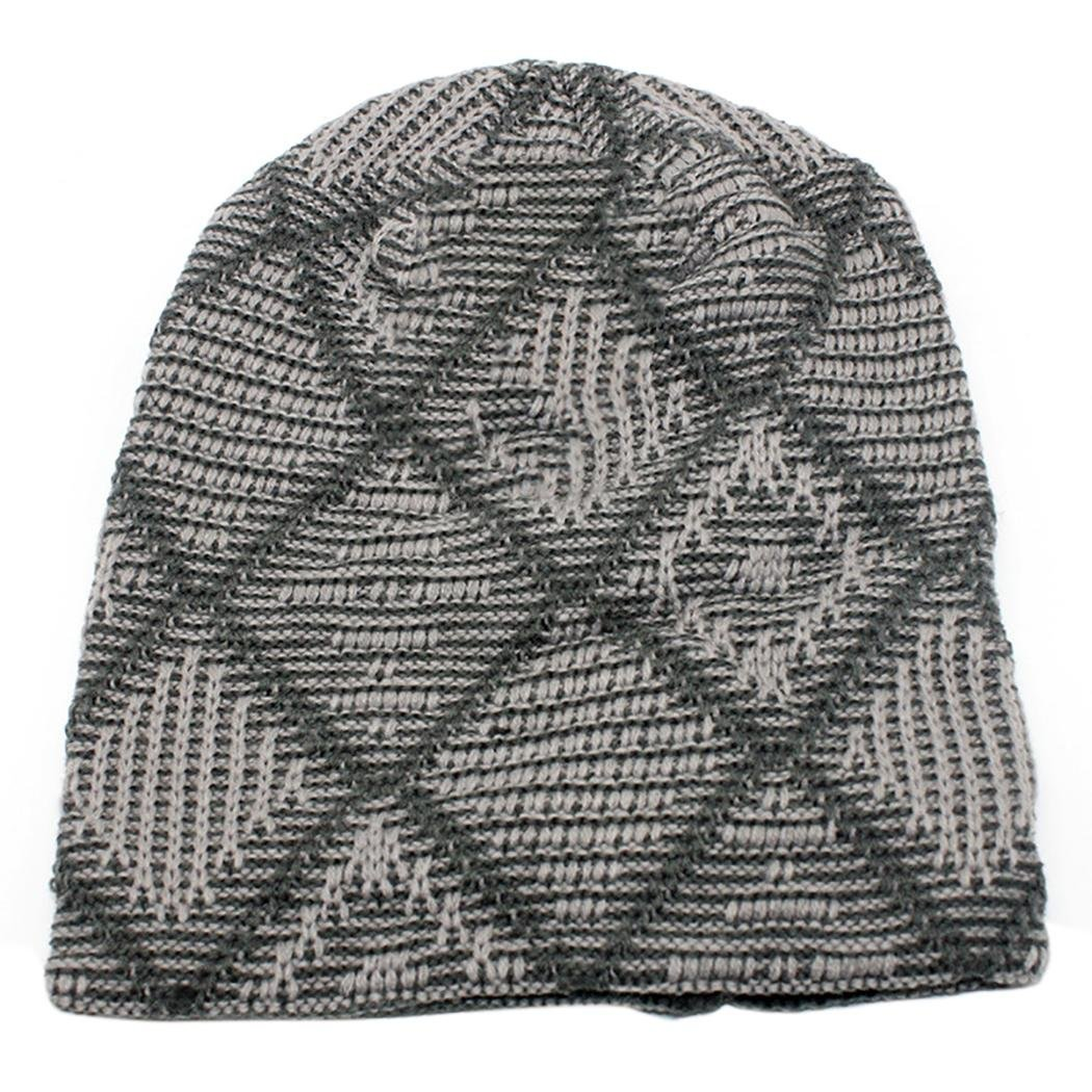 Veenajo Men's Plaid Thick Knit Skull Caps Winter Slouchy Beanies Warm Ski Hat Veenajo-mz20161107004-Beige-One Size