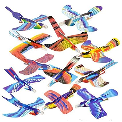 Kicko 7 Inch Foam Bird Glider Kite for Kids - 24 Pieces Flying Colorful  Paragliding - Perfect for Outdoor and Open-Air Activities, Game on Summer