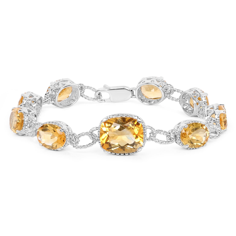 18.40 ct Bracelet Genuine Citrine Cushion Gemstone 925 Sterling Silver 7 inches