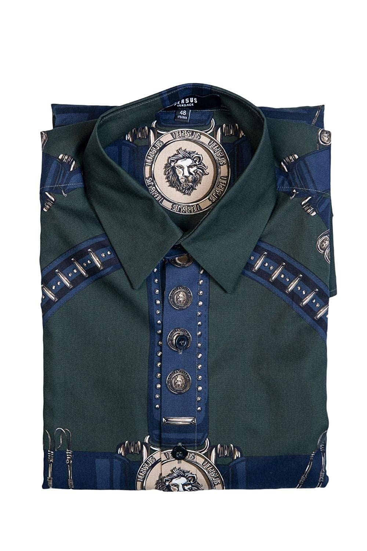 f34dfecee096e5 Amazon.com: Versace Mens Smart Shirt BU20306 BT10830 Size 48 Green: Versace:  Clothing