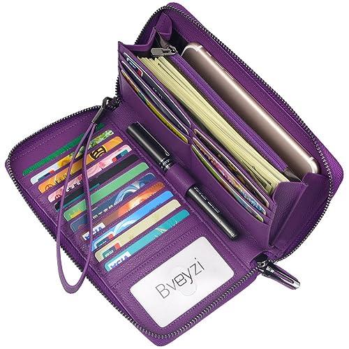 Women RFID Blocking Wallet Leather Zip Around Clutch Large Travel Purse Wrist Strap (Purple)