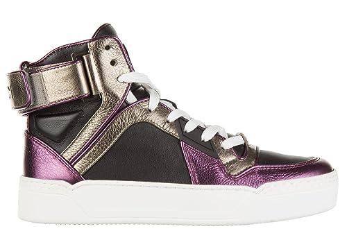 Gucci Scarpe Sneakers Alte Donna in Pelle Nuove Nero  Amazon.it  Scarpe e  borse 17edb671981f