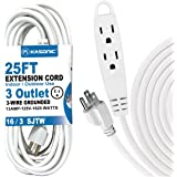 25-Feet 3 Outlet Extension Cord, Kasonic UL Listed, 16 / 3 SJTW 3-Wire Grounded, 13 Amp 125 V 1625 Watts, Multi-Outlet Indoor