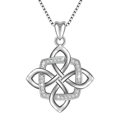 925 Sterling Silver Good Luck Polished Celtic Knot Cross Pendant Necklace For Womens UWsV1