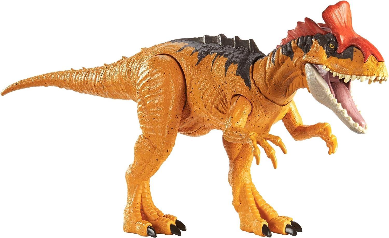 sons r/éalistes et m/âchoires qui claquent Jurassic World Attaque Sonore figurine articul/ée de Cryolophosaurus avec mouvements GJN66 jouet pour enfant