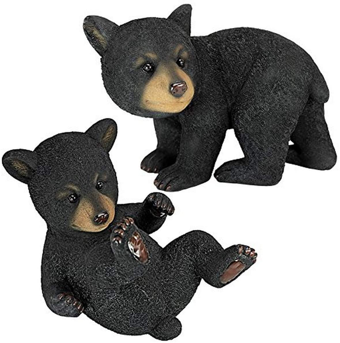 Design Toscano QM92592800 Roly-Poly Bear Cub Statue, Set of 2, Black : Collectible Figurines : Garden & Outdoor