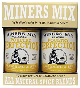 Miners Mix All Natural Poultry Perfection Low Salt Seasoning Dry Rub Blend for Oven Roasted, BBQ, Grilled, Smoked, or Deep Fried, Chicken, or Thanksgiving Turkey With No Msg 2 Pk