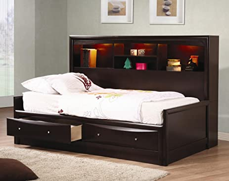 Inland Empire Furniture Full Size Cooper Cappuccino Solid Wood Daybed W/  Bookcase And Storage Drawers
