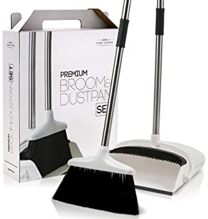 Amazon com: Primica Broom and Dustpan Set - Self-Cleaning Broom