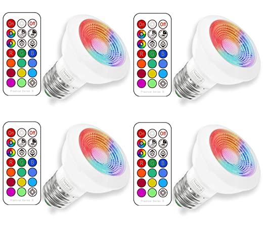 RGBW 3W E27 Led Colores Cambiantes Lámpara,Sunpion RGB+2700K Warmwhite Bombilla Bulbo LED