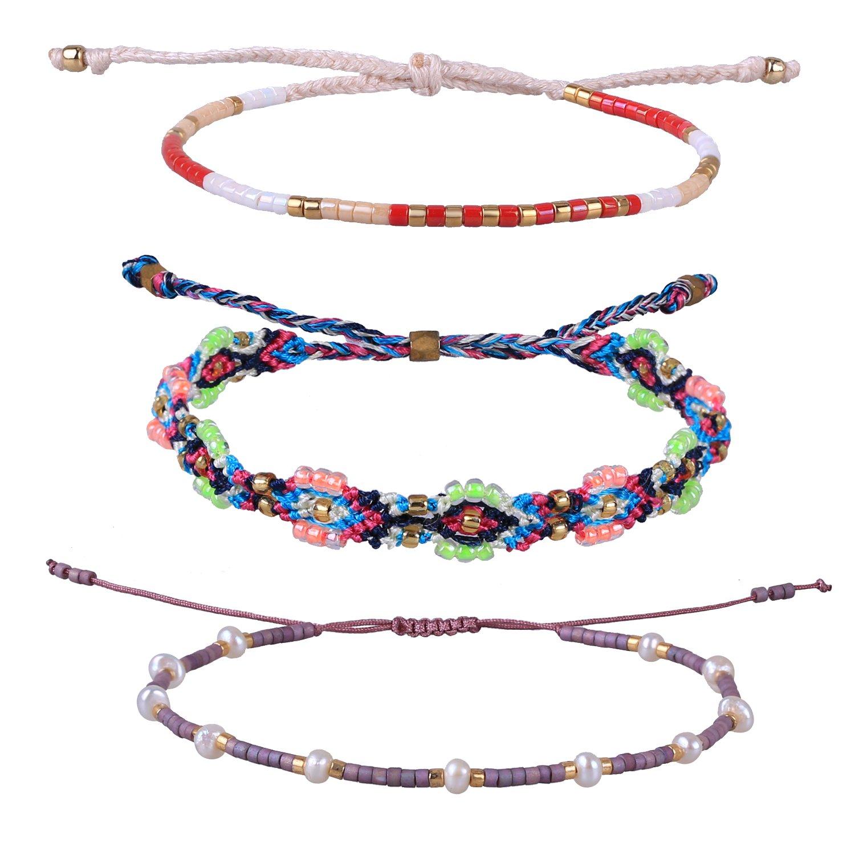 KELITCH Handmade Braided Rope Bracelet Adjustable Shell Pearl Beaded Friendship Bracelet 3 PCS/Set (Color B)