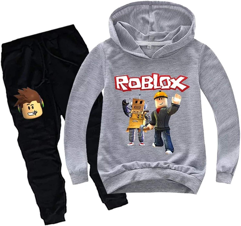 fashion 1938 Kids Roblox Long Sleeve Hoodie and Sweatpants Set-Pullover Hooded Sweatshirts