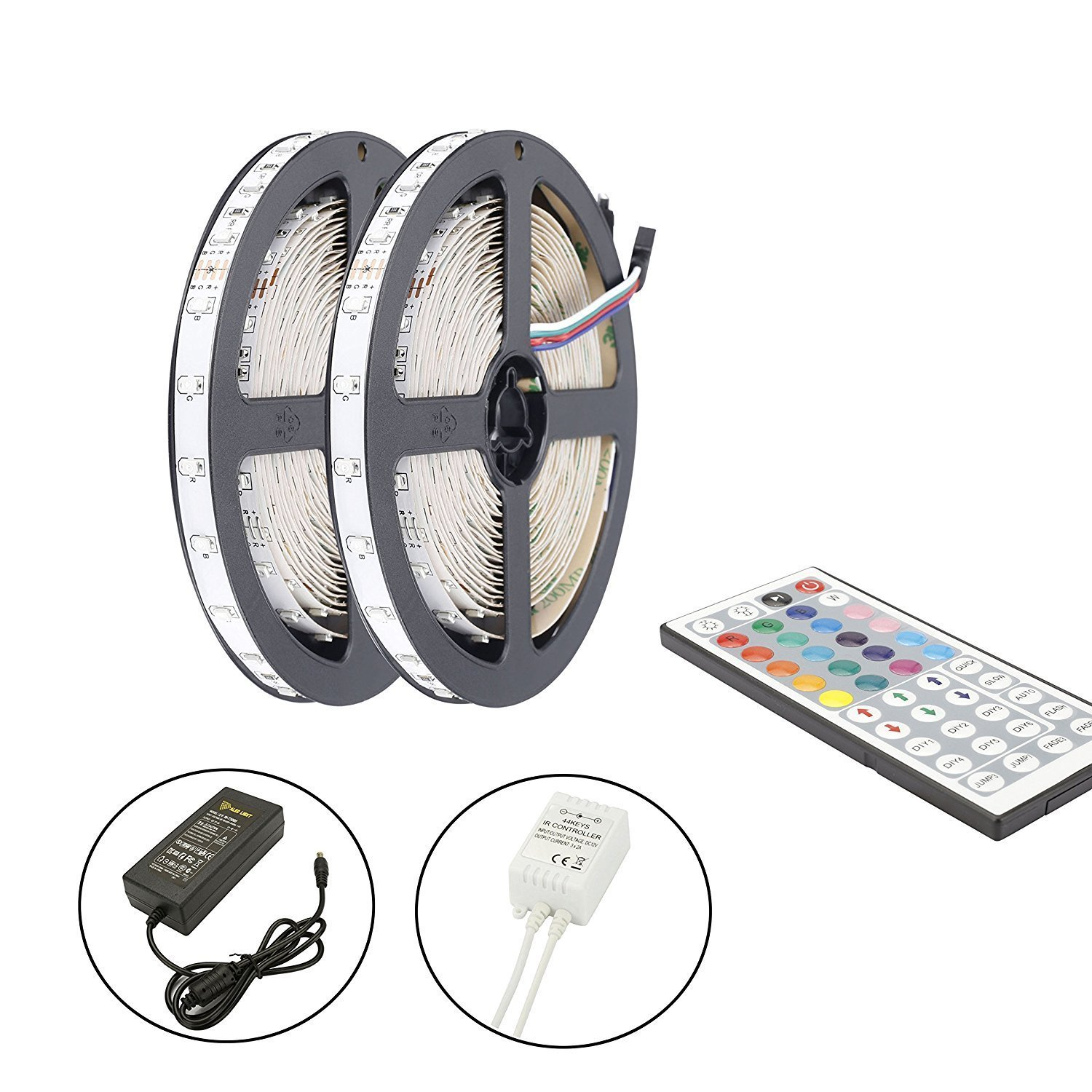 LED Strip Lights Kit, ALED Light LED Flexible Light Strip 32.8Ft/2x5M 5050 150LEDs Non-Waterproof RGB Strip Lighting with Remote DC 12V Power Supply for DIY/Christmas/Party/Decoration (2 Pack) by ALED LIGHT (Image #4)