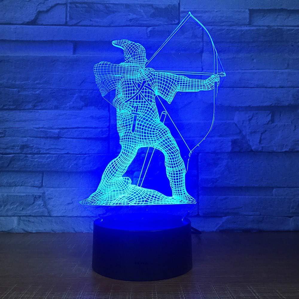 YZYDBD 3D Night Light Optical Illusion Bow Arrow Shape 3D Lamp Creative Home Decor 7 Color Changing Led Bedside Shooter Night Light Kids Gifts Sleep Light Fixture