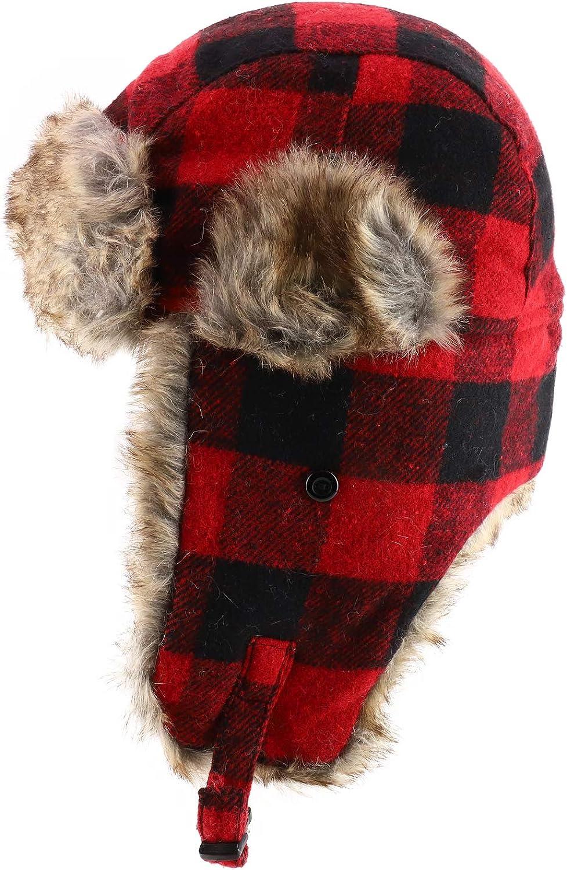 Armycrew Faux Fur Trimmed Buffalo Plaid Earflap Winter Trooper Hat