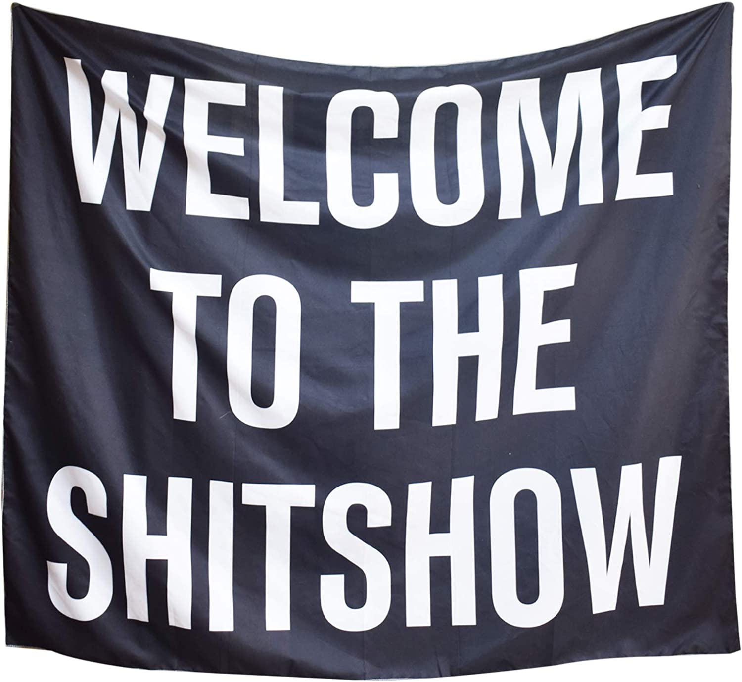 Welcome to The Shitshow Tapestry Boutique Funny Tapestry Wall Hanging Party College Dorm Apartment Bedroom Decor Micro Fiber Peach Home Decor 59.1X51.2 in (Style 2)