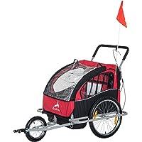 Aosom 2-in-1 Double Baby Bike Trailer Jogger Stroller (Black/Red)