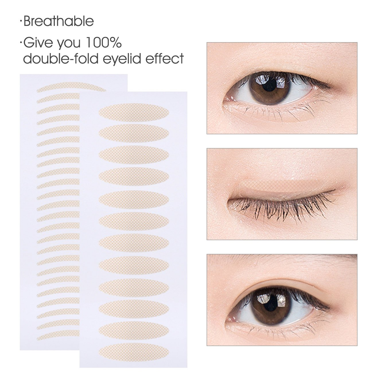 Breathable Double Eyelid Tape Stickers Beauty Tool Fiber Fishnet Texture - 120 Pairs Slim + 120 Pairs Wide Double Eyelid Tape, Perfect for Hooded, Droopy, Uneven, or Mono-eyelids