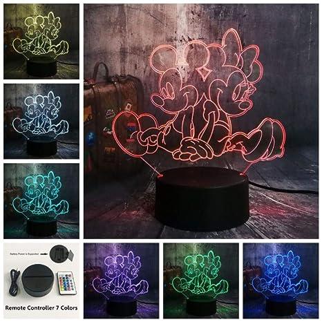 3D Night Lights LYD Lámpara de mesa Cartoon Minnie RGB7 Cambio de ...