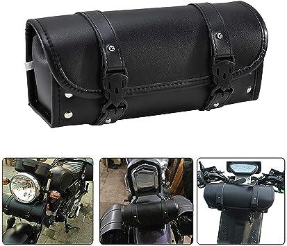 YHMTIVTU Motorcycle Handlebar Bag Roll Tool Bag PU Leather Saddlebags Storage Tool Pouch