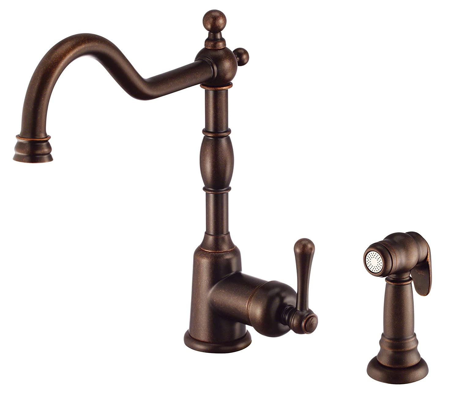 Danze D401157BR Opulence Single Handle Kitchen Faucet With Side Spray,  Tumbled Bronze     Amazon.com
