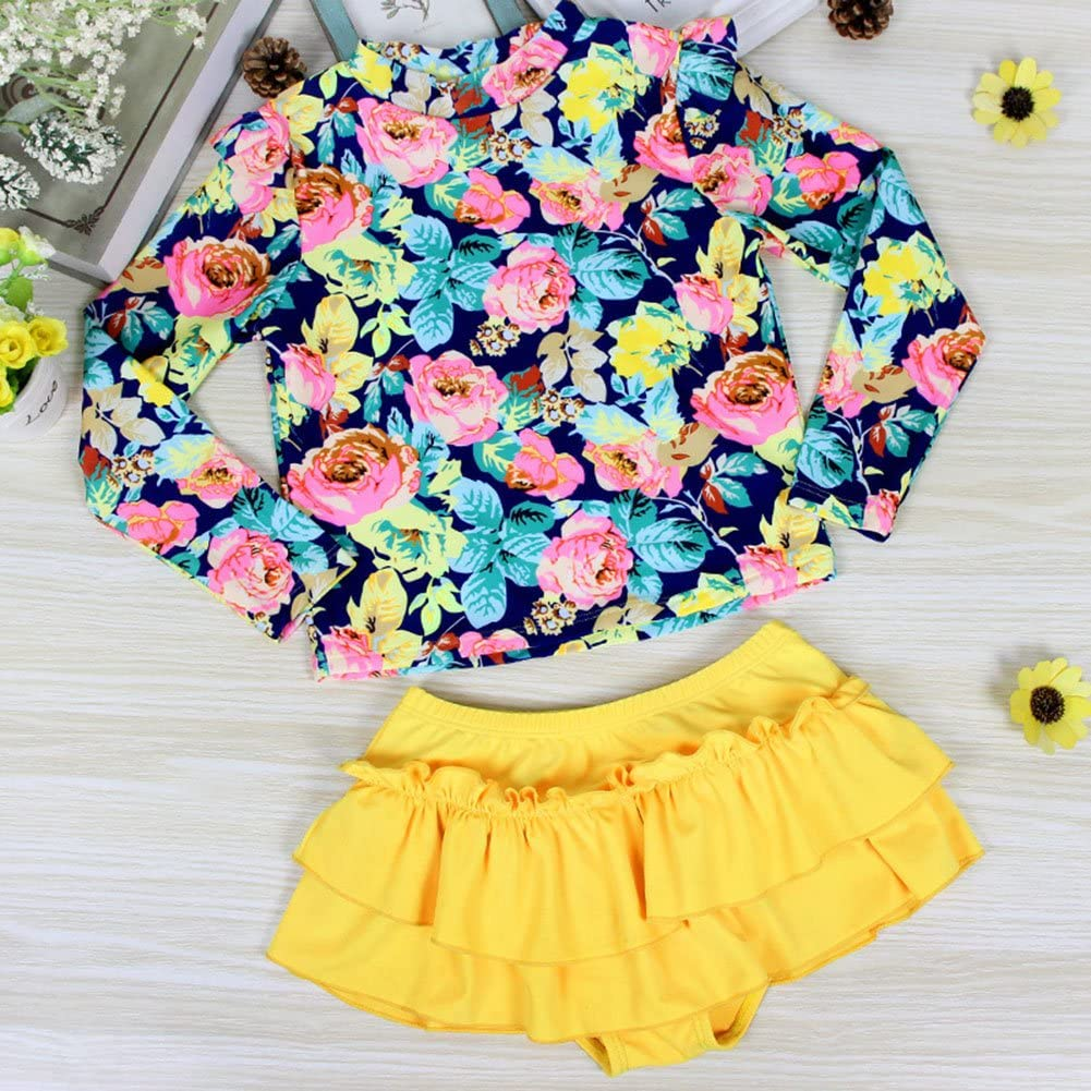 SFNLD InStar Girls Sweet Floral Print Modest Long Sleeves Two Pieces Swimsuits With Skirt