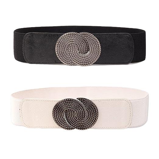 3de475577591f Womtop Women Fashion Elastic Waist Belt Retro Wide Belt 2 PCS Lady Belts  Cinch Belt for Dress (Black+White, Free) at Amazon Women's Clothing store: