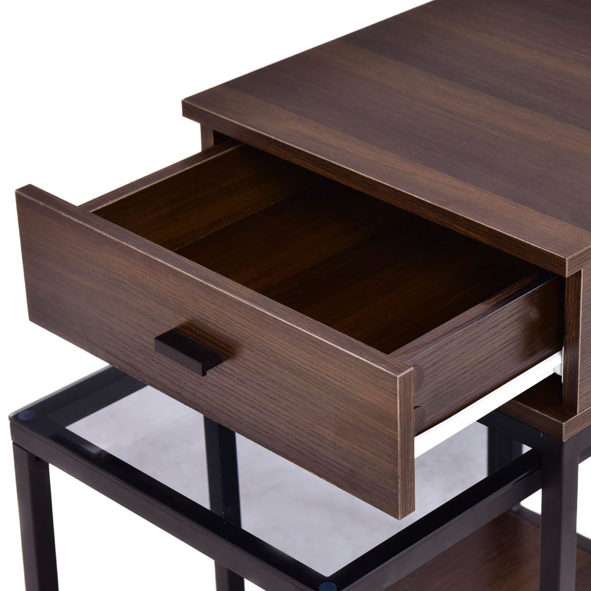 Nesting Table Coffee Table Side Table End Table Metal Frame Wood Glass Top 2PCS by White Bear & Brown Rabbit (Image #6)