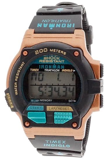 e779db6f550e Timex Ironman de triatlón para mujer reloj infantil de cuarzo para hombre  con esfera gris pantalla Digital y negro correa de goma T77711  Amazon.es   Relojes