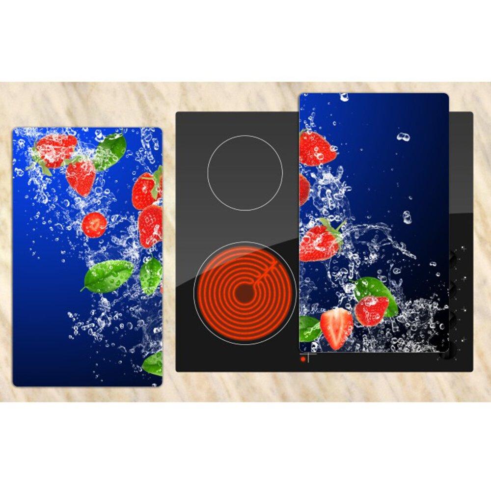 """DEKOGLAS Herdabdeckplatten /""""Erdbeeren/"""" 60x52 Glas Ceranfeld-Abdeckung Herd Set"""