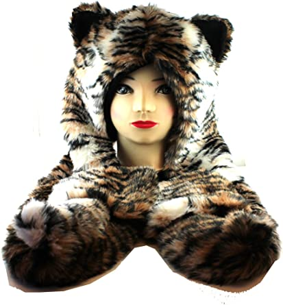 Ladies Faux Fur Tiger Print Animal Hat With Pockets